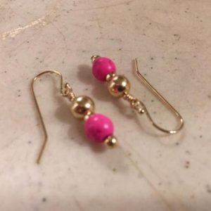 Shop Howlite Earrings! Hot Pink Earrings – Gold Jewelry – Howlite Gemstone Jewellery – Fashion | Natural genuine Howlite earrings. Buy crystal jewelry, handmade handcrafted artisan jewelry for women.  Unique handmade gift ideas. #jewelry #beadedearrings #beadedjewelry #gift #shopping #handmadejewelry #fashion #style #product #earrings #affiliate #ad