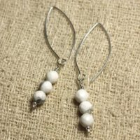 Sterling Silver 925 Hooks 40mm – 6mm Faceted Howlite Earrings | Natural genuine Gemstone jewelry. Buy crystal jewelry, handmade handcrafted artisan jewelry for women.  Unique handmade gift ideas. #jewelry #beadedjewelry #beadedjewelry #gift #shopping #handmadejewelry #fashion #style #product #jewelry #affiliate #ad