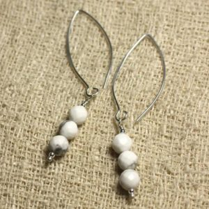 Shop Howlite Earrings! Sterling Silver 925 hooks 40mm – 6mm faceted Howlite earrings | Natural genuine Howlite earrings. Buy crystal jewelry, handmade handcrafted artisan jewelry for women.  Unique handmade gift ideas. #jewelry #beadedearrings #beadedjewelry #gift #shopping #handmadejewelry #fashion #style #product #earrings #affiliate #ad