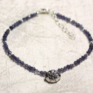 Shop Iolite Bracelets! Bracelet 925 sterling silver and stone – Iolite Cordierite faceted rondelles 3mm | Natural genuine Iolite bracelets. Buy crystal jewelry, handmade handcrafted artisan jewelry for women.  Unique handmade gift ideas. #jewelry #beadedbracelets #beadedjewelry #gift #shopping #handmadejewelry #fashion #style #product #bracelets #affiliate #ad