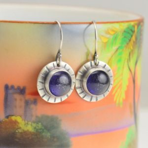 Shop Iolite Earrings! iolite hammered circle sterling silver earrings | Natural genuine Iolite earrings. Buy crystal jewelry, handmade handcrafted artisan jewelry for women.  Unique handmade gift ideas. #jewelry #beadedearrings #beadedjewelry #gift #shopping #handmadejewelry #fashion #style #product #earrings #affiliate #ad