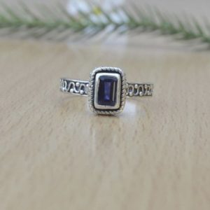 Shop Iolite Rings! Beautiful Girls Blue iolite Ring , 925 Sterling Silver Designer Ink Color Gemstone Ring , Luck Energy Ring , Handmade Jewelry , Bezel Ring | Natural genuine Iolite rings, simple unique handcrafted gemstone rings. #rings #jewelry #shopping #gift #handmade #fashion #style #affiliate #ad