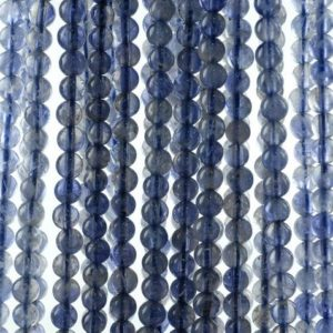 Shop Iolite Beads! 4mm Bermudan Blue Iolite Gemstone Grade AAA Round Loose Beads 15.5 inch Full Strand (90186111-832) | Natural genuine beads Iolite beads for beading and jewelry making.  #jewelry #beads #beadedjewelry #diyjewelry #jewelrymaking #beadstore #beading #affiliate #ad