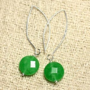 Shop Jade Earrings! Earrings 925 sterling silver and stone – Green Jade faceted beads 14mm | Natural genuine Jade earrings. Buy crystal jewelry, handmade handcrafted artisan jewelry for women.  Unique handmade gift ideas. #jewelry #beadedearrings #beadedjewelry #gift #shopping #handmadejewelry #fashion #style #product #earrings #affiliate #ad