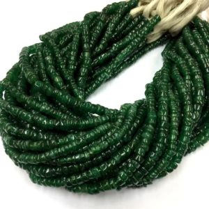 "Shop Jade Rondelle Beads! Natural Smooth Nephrite Jade Tyre Shape Beads 6mm Wheel Shape Gemstone Beads 14"" Strand 