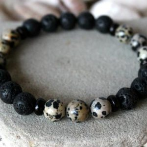 Shop Jasper Bracelets! Men's Lava Bracelet, 10 mm Lava Bracelet, Dalmatian Jasper Bracelet, Men's Dalmatian Jasper Bracelet, Jasper Bracelet Men, Men's Wrist Mala | Natural genuine Jasper bracelets. Buy crystal jewelry, handmade handcrafted artisan jewelry for women.  Unique handmade gift ideas. #jewelry #beadedbracelets #beadedjewelry #gift #shopping #handmadejewelry #fashion #style #product #bracelets #affiliate #ad