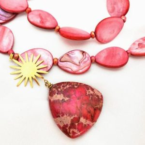 """Shop Jasper Pendants! Hot pink/coral mother of pearl & """"turquoise"""" sea sediment jasper pendant necklace. Sunburst/star with holographic rainbows, festival design. 
