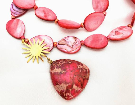 """Hot Pink/coral Mother Of Pearl & """"turquoise"""" Sea Sediment Jasper Pendant Necklace. Sunburst/star With Holographic Rainbows, Festival Design."""