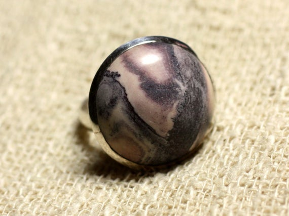 Ring 925 Sterling Silver And Stone - Jasper Porcelain Round 20mm Adjustable