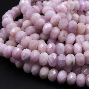 "Shop Kunzite Beads! Large Natural Kunzite Faceted Rondelle 10mm 12mm Beads Real Genuine Violet Purple Pink Kunzite Gemstone 16"" Strand 