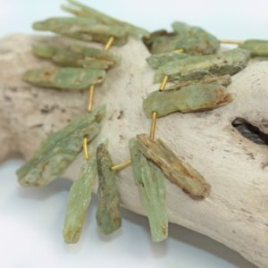 Natural Green Kyanite Shards Points Rough Beads 17 – 30 Mm Rustic Gemstone Irregular Cut Beads Freeform Kyanite Gemstone Beads  1 Bead | Natural genuine chip Kyanite beads for beading and jewelry making.  #jewelry #beads #beadedjewelry #diyjewelry #jewelrymaking #beadstore #beading #affiliate #ad