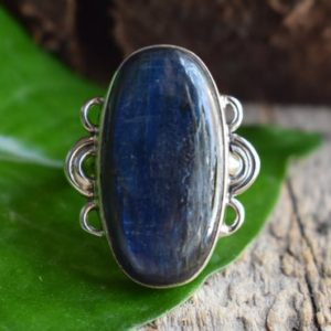 Shop Kyanite Rings! 925 Silver Kyanite Ring-kyanite Ring-natural Kyanite Ring-handmade Ring-ring For Women-design Ring | Natural genuine Kyanite rings, simple unique handcrafted gemstone rings. #rings #jewelry #shopping #gift #handmade #fashion #style #affiliate #ad