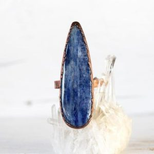Shop Kyanite Rings! Blue Kyanite Ring – Size 8 1/2 – Polished Kyanite Jewelry – Electroformed Crystal Ring – Chakra Jewelry | Natural genuine Kyanite rings, simple unique handcrafted gemstone rings. #rings #jewelry #shopping #gift #handmade #fashion #style #affiliate #ad