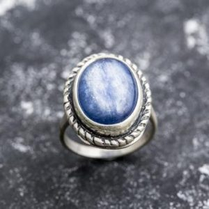 Shop Kyanite Rings! Blue Statement Ring, Kyanite Ring, Blue Kyanite Ring, Natural Kyanite, Vintage Silver Ring, Large Kyanite, Solid Silver Ring, Kyanite | Natural genuine Kyanite rings, simple unique handcrafted gemstone rings. #rings #jewelry #shopping #gift #handmade #fashion #style #affiliate #ad