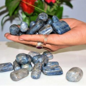 Shop Tumbled Kyanite Crystals & Pocket Stones! 100 Gr Blue Kyanite 4 Pc Healing Power Reiki Aura Meditation Tumbled Pebbles | Natural genuine stones & crystals in various shapes & sizes. Buy raw cut, tumbled, or polished gemstones for making jewelry or crystal healing energy vibration raising reiki stones. #crystals #gemstones #crystalhealing #crystalsandgemstones #energyhealing #affiliate #ad