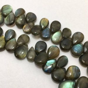 "Shop Labradorite Bead Shapes! 185 Carat Natural labradorite Plain Smooth Briollette Pears 10 to 14 mm 8""/Labradorite Beads/Briollette Pears/ Black Beads 