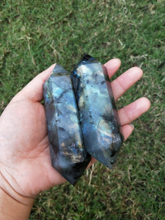 Large Labradorite Double Terminated Crystal Point Wand