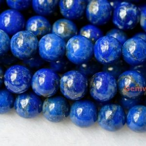 "Shop Lapis Lazuli Round Beads! 15.5"" 4mm Natural Lapis lazuli round beads, nice genuine Lapis lazuli round beads, blue color DIY jewelry beads, gemstone wholesaler 