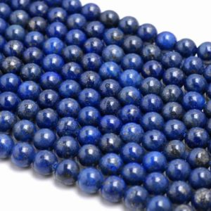 Shop Lapis Lazuli Round Beads! 6mm Lapis Lazuli Gemstone Grade A Dark Blue Round 6mm Loose Beads 15.5 inch Full Strand (90113020-126A) | Natural genuine round Lapis Lazuli beads for beading and jewelry making.  #jewelry #beads #beadedjewelry #diyjewelry #jewelrymaking #beadstore #beading #affiliate #ad