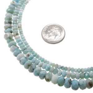 "Shop Larimar Faceted Beads! Natural Blue Larimar Faceted Rondelle Beads 2x3mm 2.5x4mm 4x6mm 15.5"" Strand 