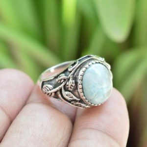 Larimar Ring | 925 Sterling Silver Ring | Larimar Engagement Ring | 10×12 mm Oval Larimar Gemstone Ring | Natural Larimar Ring | Bridal Ring | Natural genuine Gemstone rings, simple unique alternative gemstone engagement rings. #rings #jewelry #bridal #wedding #jewelryaccessories #engagementrings #weddingideas #affiliate #ad