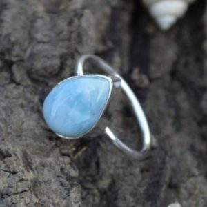Shop Larimar Jewelry! Natural Dominican Larimar Gemstone Ring, Larimar Ring, 925 Sterling Silver Tiny Ring, Pear Larimar Ring, Birthstone Ring, Gift For Her | Natural genuine Larimar jewelry. Buy crystal jewelry, handmade handcrafted artisan jewelry for women.  Unique handmade gift ideas. #jewelry #beadedjewelry #beadedjewelry #gift #shopping #handmadejewelry #fashion #style #product #jewelry #affiliate #ad