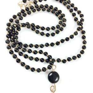Shop Rainbow Obsidian Necklaces! Long Rainbow Obsidian And Gold Necklace | Natural genuine Rainbow Obsidian necklaces. Buy crystal jewelry, handmade handcrafted artisan jewelry for women.  Unique handmade gift ideas. #jewelry #beadednecklaces #beadedjewelry #gift #shopping #handmadejewelry #fashion #style #product #necklaces #affiliate #ad
