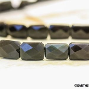 M/ Rainbow Obsidian 10x14mm Faceted Flat Rectangle Beads 15.5 inches long Strand About 24 pcs loose pieces REAL gemstones  Not Dyed | Natural genuine other-shape Rainbow Obsidian beads for beading and jewelry making.  #jewelry #beads #beadedjewelry #diyjewelry #jewelrymaking #beadstore #beading #affiliate #ad