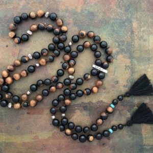 Mala Necklace 108 Mala Prayer Bead Necklace with Olive Wood, Rainbow Obsidian and Spirit-Bone Charm | Natural genuine Gemstone necklaces. Buy crystal jewelry, handmade handcrafted artisan jewelry for women.  Unique handmade gift ideas. #jewelry #beadednecklaces #beadedjewelry #gift #shopping #handmadejewelry #fashion #style #product #necklaces #affiliate #ad