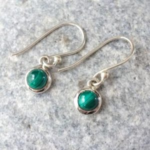 Shop Malachite Earrings! Tiny Round Malachite Earrings, Malachite Sterling Silver Earrings, Dangle Tiny Green Stone Earrings, Small Round Earrings, Malachite Jewelry | Natural genuine Malachite earrings. Buy crystal jewelry, handmade handcrafted artisan jewelry for women.  Unique handmade gift ideas. #jewelry #beadedearrings #beadedjewelry #gift #shopping #handmadejewelry #fashion #style #product #earrings #affiliate #ad