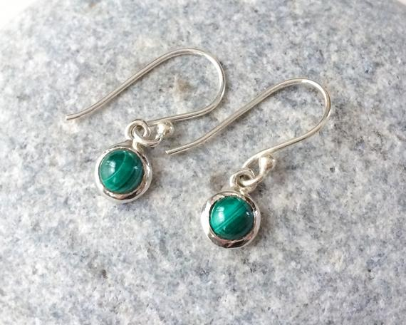 Tiny Round Malachite Earrings, Malachite Sterling Silver Earrings, Dangle Tiny Green Stone Earrings, Small Round Earrings, Malachite Jewelry