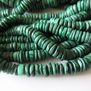 Malachite Tyre Beads Necklace, Natural Malachite Round Heishi Beads, 6.5mm To 10mm Beads, 19 Inch Strand, SKU-2580 | Natural genuine other-shape Gemstone beads for beading and jewelry making.  #jewelry #beads #beadedjewelry #diyjewelry #jewelrymaking #beadstore #beading #affiliate #ad