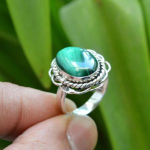 Shop Malachite Rings! Malachite Ring, Oxidized Ring, 925 Sterling Silver Rings, 9×13 mm Oval Malachite Ring, Gemstone Jewelry Women Rings, Malachite Gemstone Ring | Natural genuine Malachite rings, simple unique handcrafted gemstone rings. #rings #jewelry #shopping #gift #handmade #fashion #style #affiliate #ad