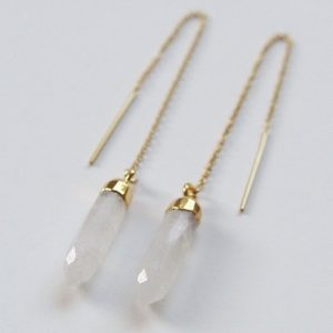 Shop Moonstone Earrings! Moonstone Gold Earrings, Moonstone Point Earrings | Natural genuine Moonstone earrings. Buy crystal jewelry, handmade handcrafted artisan jewelry for women.  Unique handmade gift ideas. #jewelry #beadedearrings #beadedjewelry #gift #shopping #handmadejewelry #fashion #style #product #earrings #affiliate #ad