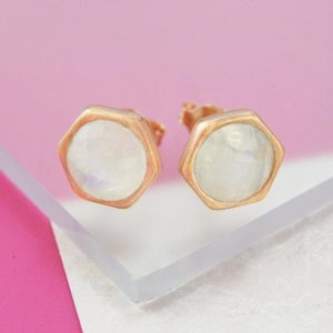 Shop Moonstone Earrings! Rose Gold Moonstone Earrings, Rose Gold Studs, Rose Gold Gemstone, Organic Stud Earrings, Hexagonal Studs, Moonstone Studs, Bridesmaids Stud | Natural genuine Moonstone earrings. Buy crystal jewelry, handmade handcrafted artisan jewelry for women.  Unique handmade gift ideas. #jewelry #beadedearrings #beadedjewelry #gift #shopping #handmadejewelry #fashion #style #product #earrings #affiliate #ad