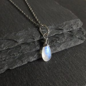 Shop Moonstone Pendants! Moonstone Necklace, Sterling Silver Chain, White Gemstone Teardrop Pendant, Rustic Jewelry | Natural genuine Moonstone pendants. Buy crystal jewelry, handmade handcrafted artisan jewelry for women.  Unique handmade gift ideas. #jewelry #beadedpendants #beadedjewelry #gift #shopping #handmadejewelry #fashion #style #product #pendants #affiliate #ad