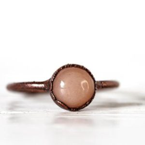 Peach Moonstone Ring – Copper Stacking Ring – Moonstone Ring – June Birthstone – Round Solitaire Ring | Natural genuine Gemstone rings, simple unique handcrafted gemstone rings. #rings #jewelry #shopping #gift #handmade #fashion #style #affiliate #ad