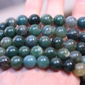 Shop Moss Agate Jewelry! Moss Agate 10 mm Round Stretchy String Bracelet G85 | Natural genuine Moss Agate jewelry. Buy crystal jewelry, handmade handcrafted artisan jewelry for women.  Unique handmade gift ideas. #jewelry #beadedjewelry #beadedjewelry #gift #shopping #handmadejewelry #fashion #style #product #jewelry #affiliate #ad