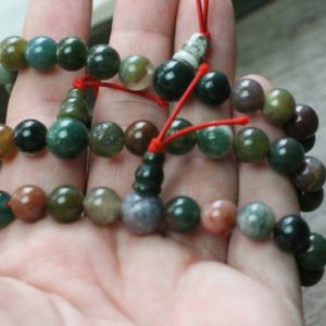Shop Moss Agate Jewelry! Moss Agate 8mm Power Bracelet G99 | Natural genuine Moss Agate jewelry. Buy crystal jewelry, handmade handcrafted artisan jewelry for women.  Unique handmade gift ideas. #jewelry #beadedjewelry #beadedjewelry #gift #shopping #handmadejewelry #fashion #style #product #jewelry #affiliate #ad