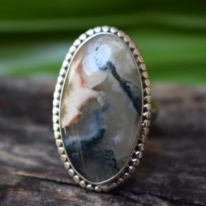 Shop Moss Agate Rings! 925 silver moss agate ring-moss agate ring-natural agate ring-handmade ring-ring for women-design ring   Natural genuine Moss Agate rings, simple unique handcrafted gemstone rings. #rings #jewelry #shopping #gift #handmade #fashion #style #affiliate #ad