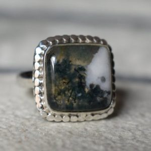 Shop Moss Agate Rings! 925 silver moss agate ring-natural moss agate ring-agate ring-rare moss agate ringnatural agate ring-handmade ring-design ring   Natural genuine Moss Agate rings, simple unique handcrafted gemstone rings. #rings #jewelry #shopping #gift #handmade #fashion #style #affiliate #ad