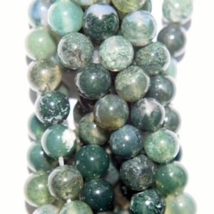 """Shop Moss Agate Beads! Natural Moss Agate Beads – Round 6 mm Gemstone Beads – Full Strand 16"""", 63 beads, A+ Quality 