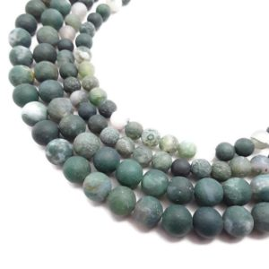 """Shop Moss Agate Beads! Natural Green Moss Agate Matte Round Beads Size 6mm 8mm 10mm 15.5"""" Strand 