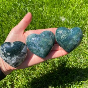 Shop Moss Agate Shapes! Moss Agate Heart, Green Moss Agate Heart, Moss Agate Crystal, Puffy Agate Hearts | Natural genuine stones & crystals in various shapes & sizes. Buy raw cut, tumbled, or polished gemstones for making jewelry or crystal healing energy vibration raising reiki stones. #crystals #gemstones #crystalhealing #crystalsandgemstones #energyhealing #affiliate #ad