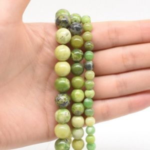 Natural chrysoprase beads, 6mm 8mm 10mm smooth round beads, Australian green jade beads strand, natural chrysoprase gemstone beads, CSP20X0 | Natural genuine round Chrysoprase beads for beading and jewelry making.  #jewelry #beads #beadedjewelry #diyjewelry #jewelrymaking #beadstore #beading #affiliate #ad
