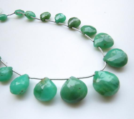 "Natural Chrysoprase Heart Shaped Briolette Beads, 10mm To 14mm Chrysoprase Faceted Gemstone Beads Loose, Sold As 11""/18pcs, 5""/9pcs, Gds1324"