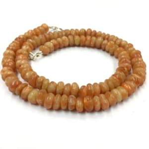 "Shop Sunstone Rondelle Beads! Natural Smooth Gemstone Sunstone Rondelle Beads 8mm Gemstone Beads 18"" Strand 