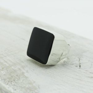 Shop Men's Gemstone Rings! Black Obsidian unisex ring made of natural Obsidian stone and 925 sterling silver men ring simple square stone ring obsidian stone ring | Natural genuine Agate rings, simple unique handcrafted gemstone rings. #rings #jewelry #shopping #gift #handmade #fashion #style #affiliate #ad