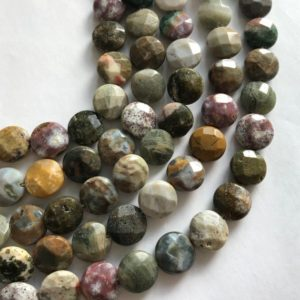 Shop Ocean Jasper Faceted Beads! Ocean Jasper 14x6mm Faceted Coin Natural Gemstone Bead–15.5 inch strand-1 strand/3 strands | Natural genuine faceted Ocean Jasper beads for beading and jewelry making.  #jewelry #beads #beadedjewelry #diyjewelry #jewelrymaking #beadstore #beading #affiliate #ad