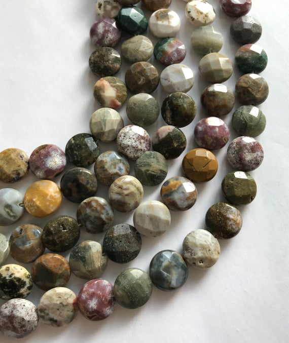 Ocean Jasper 14x6mm Faceted Coin Natural Gemstone Bead--15.5 Inch Strand-1 Strand/3 Strands